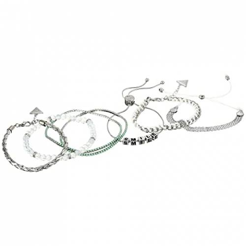 GUESS ブレスレット 銀色 シルバー 白 ホワイト 【 SILVER WHITE GUESS FIVEPIECE MIXED MEDIA BRACELET SET 】 ジュエリー アクセサリー レディースジュエリー