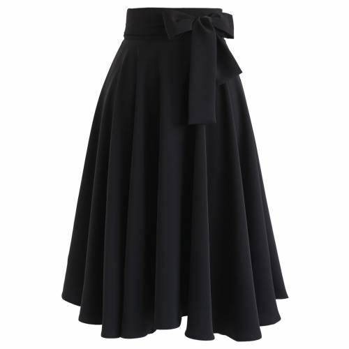ファッションブランド カジュアル ファッション CHICWISH 黒色 ブラック ミディスカート FLARE WAIST BOWKNOT 卓抜 ボトムス IN HEM レディースファッション 未使用品 スカート BLACK