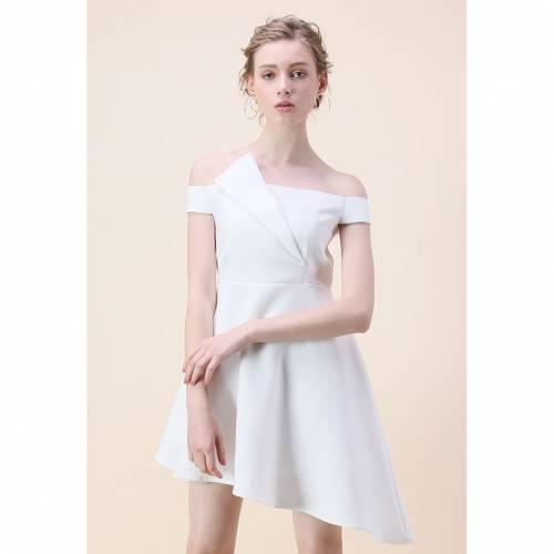レディースファッション CHARMING IN ドレス OFFSHOULDER ASYMMETRY ホワイト 白色 CHICWISH 】 CHICWISH 【 ドレス DRESS WHITE