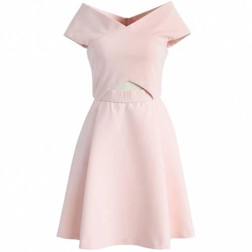 ドレス PINK 【 IN CHICWISH 】 レディースファッション OFFSHOULDER DRESS CLASSY ドレス CHICWISH CONCISE ピンク
