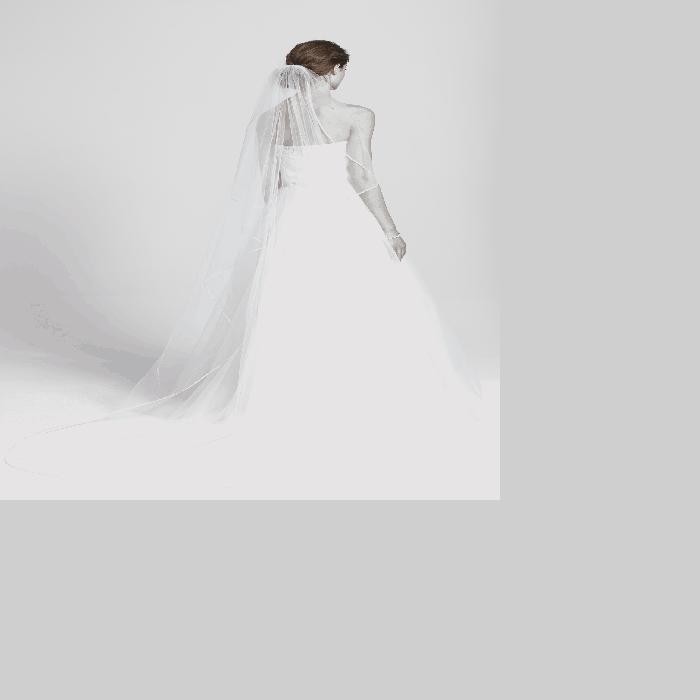 【海外限定】サテン 'MABLE' レディースファッション 【 SATIN TRIM CATHEDRAL VEIL 】