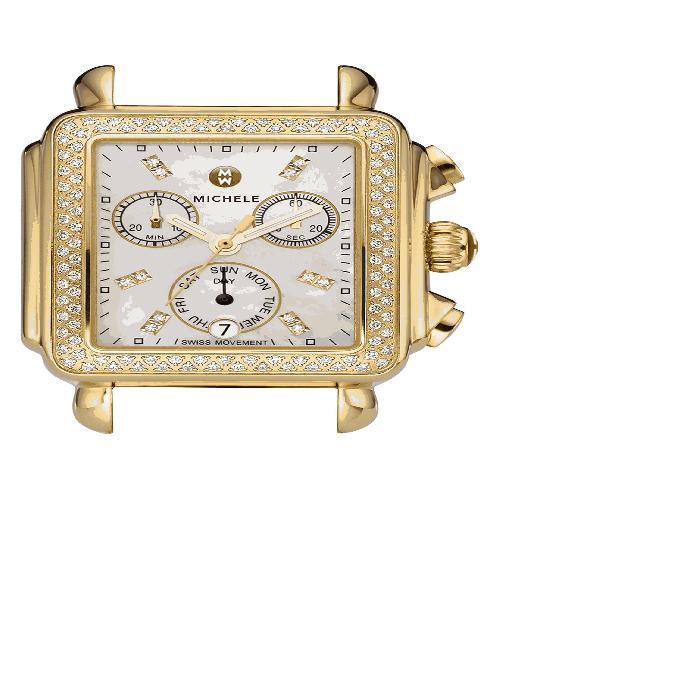 【海外限定】ダイヤモンド ウォッチ 時計 CASE, レディース腕時計 腕時計 【 WATCH DECO DIAMOND DIAL GOLD PLATED 33MM X 35MM 】