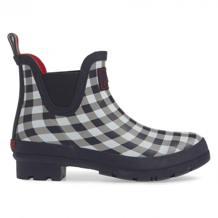 JOULES ブーツ レディース 【 Wellibob Short Rain Boot 】 Navy Rose Gingham