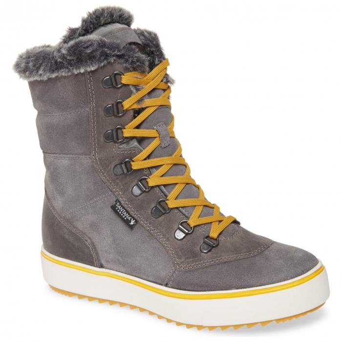 SANTANA CANADA ミッド ウィンター ブーツ レディース 【 Mid Water Resistant Winter Boot 】 Grey/ Mustard Suede