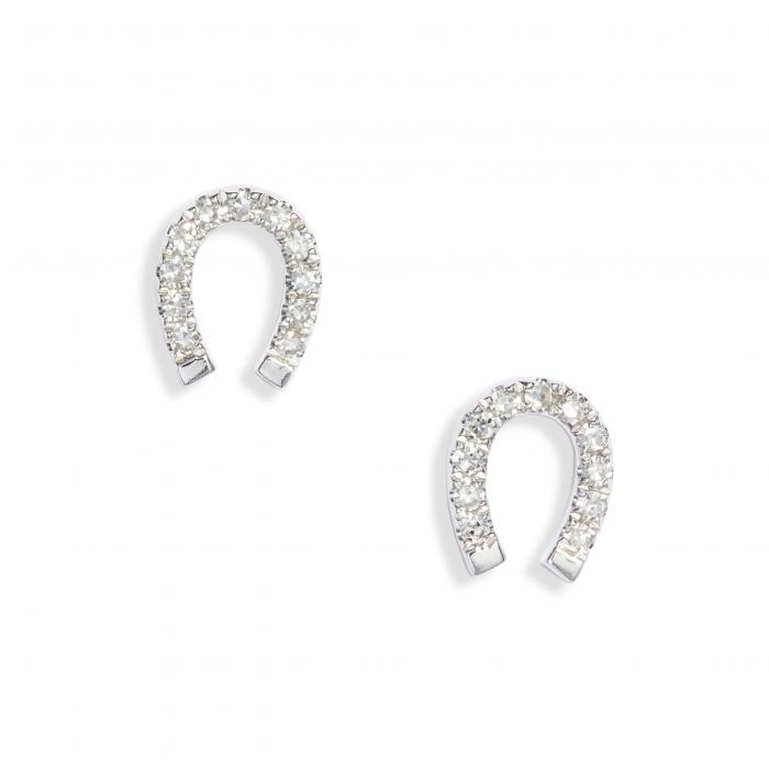 EF COLLECTION ダイヤモンド 【 DIAMOND MINI HORSESHOE STUD EARRINGS WHITE GOLD 】 ジュエリー アクセサリー レディースジュエリー 送料無料