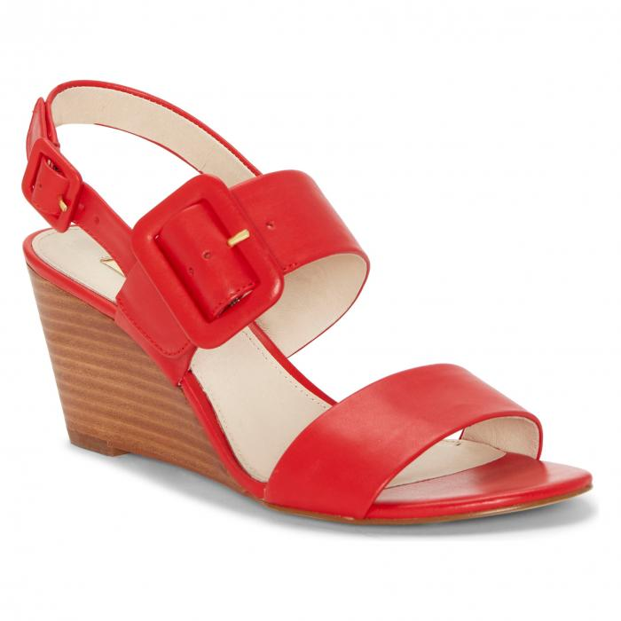 LOUISE ET CIE 【 PUTNAM WEDGE SANDAL RED LEATHER 】 送料無料