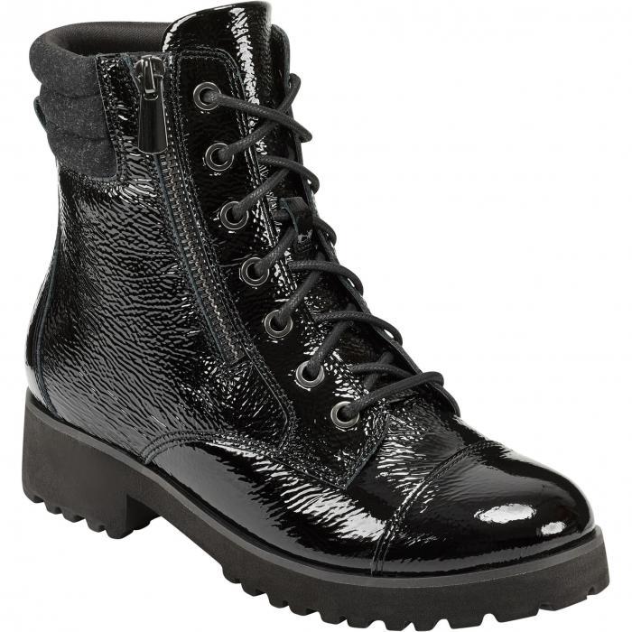 EVOLVE キャップ 帽子 コンバット レディース 【 Wylie Cap Toe Combat Bootie 】 Black Patent Leather