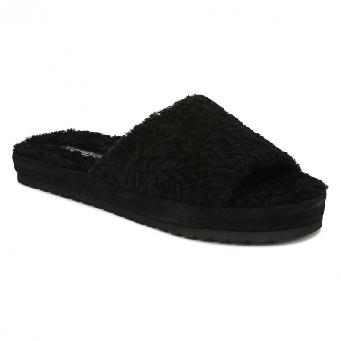 【スーパーセール商品 12/4-12/11】VINCE サンダル 【 SLIDE KALINA GENUINE SHEARLING SANDAL BLACK 】 送料無料