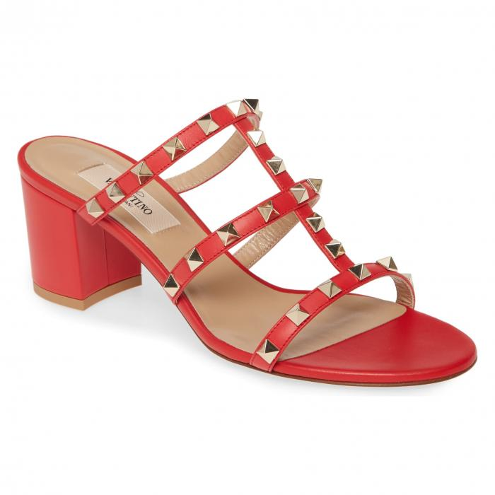 VALENTINO GARAVANI 【 ROCKSTUD SANDAL RED LEATHER 】 送料無料