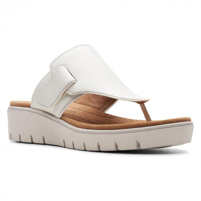 CLARKS・・< SUP> サンダル 【 SLIDE UN KARELY SEA SANDAL WHITE LEATHER 】 送料無料