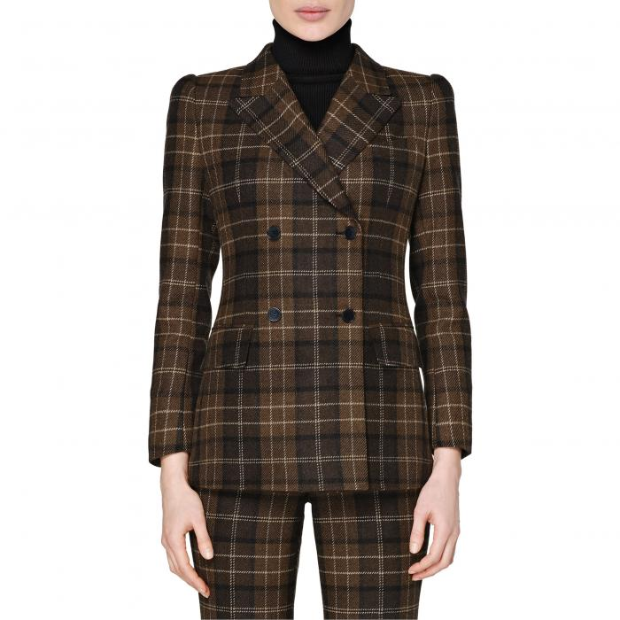 SUISTUDIO レディース 【 Alex Plaid Double Breasted Roped Shoulder Wool And Cashmere Jacket 】 Chocolate Plaid