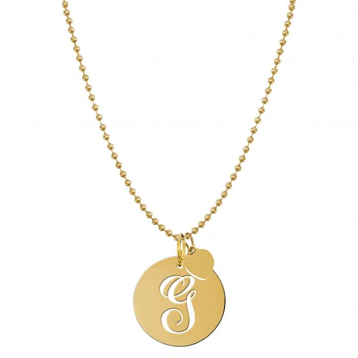 JANE BASCH DESIGNS スクリプト 【 PERSONALIZED SCRIPT INITIAL DISC PENDANT NECKLACE GOLD G 】 ジュエリー アクセサリー レディースジュエリー ネックレス 送料無料