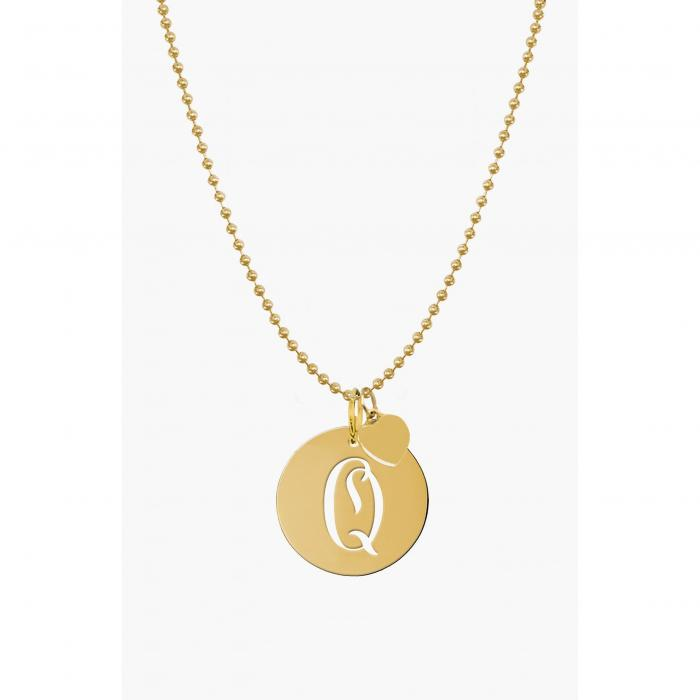 JANE BASCH DESIGNS スクリプト 【 PERSONALIZED SCRIPT INITIAL DISC PENDANT NECKLACE GOLD Q 】 ジュエリー アクセサリー レディースジュエリー ネックレス 送料無料