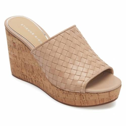 ETIENNE AIGNER サンダル 【 SLIDE DEVIN WEDGE SANDAL NATURAL LEATHER 】 送料無料