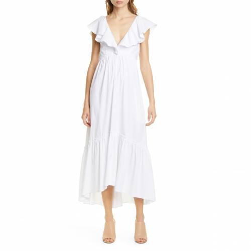 LA LIGNE スリーブ 白 ホワイト D'?T? 【 SLEEVE WHITE TONAL PINSTRIPE FLUTTER DRESS STRIPES 】 レディースファッション ドレス 送料無料
