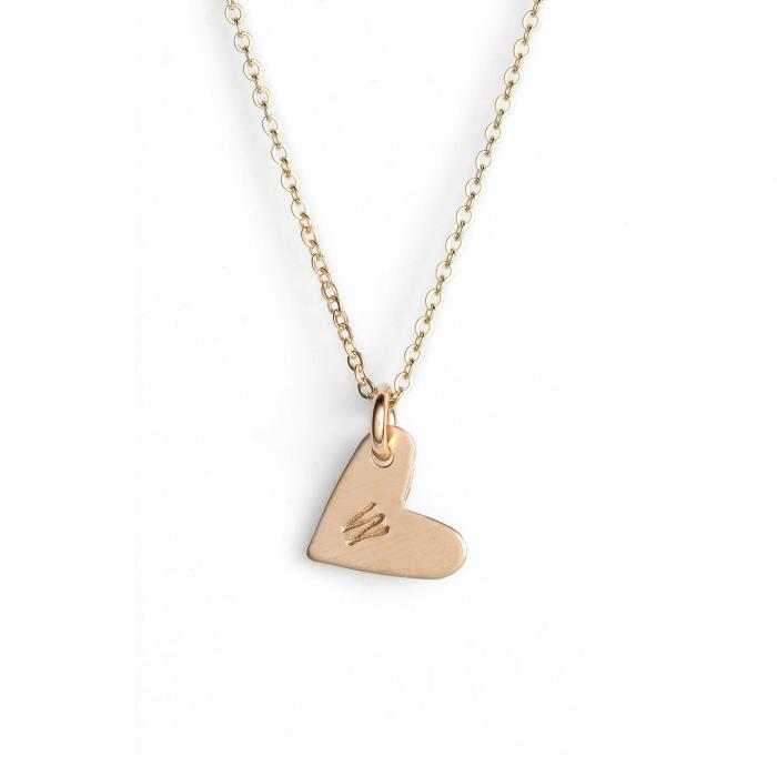 NASHELLE 【 14KGOLD FILL INITIAL MINI HEART PENDANT NECKLACE GOLD W 】 ジュエリー アクセサリー レディースジュエリー ネックレス 送料無料
