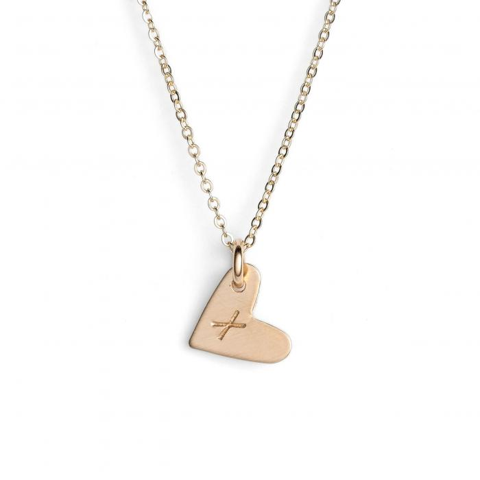 NASHELLE 【 14KGOLD FILL INITIAL MINI HEART PENDANT NECKLACE GOLD X 】 ジュエリー アクセサリー レディースジュエリー ネックレス 送料無料