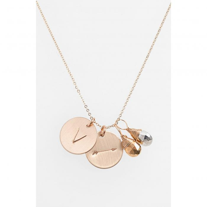 NASHELLE アロー 銀色 シルバー & 【 SILVER PYRITE INITIAL ARROW 14KGOLD FILL DISC NECKLACE GOLD V 】 ジュエリー アクセサリー レディースジュエリー ネックレス 送料無料
