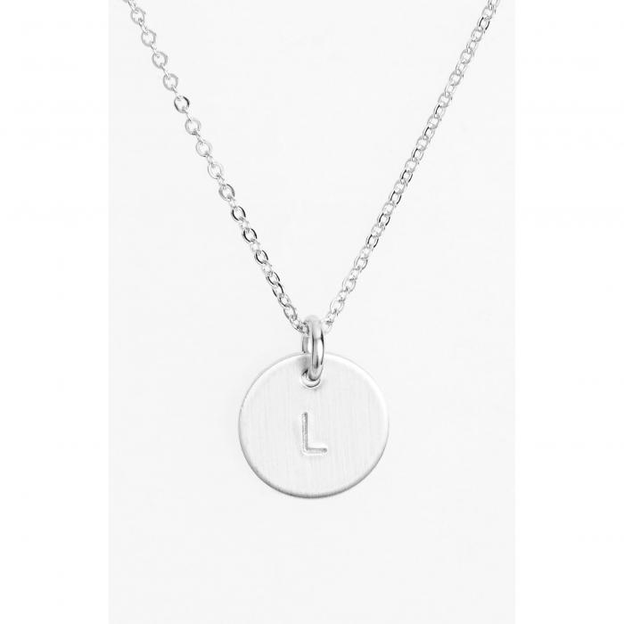 NASHELLE 銀色 シルバー 【 SILVER STERLING INITIAL MINI DISC NECKLACE L 】 ジュエリー アクセサリー レディースジュエリー ネックレス 送料無料