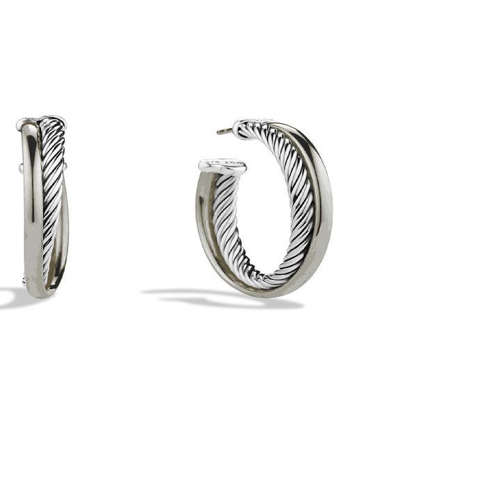 DAVID YURMAN フープ 'CROSSOVER' 【 MEDIUM HOOP EARRINGS WITH GOLD TWO TONE 】 ジュエリー アクセサリー レディースジュエリー 送料無料