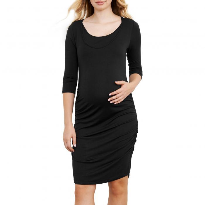 MATERNAL AMERICA ドレス キッズ ベビー マタニティ ママ マタニティウエア 授乳服 レディース 【 Ruched Maternity Dress 】 Black