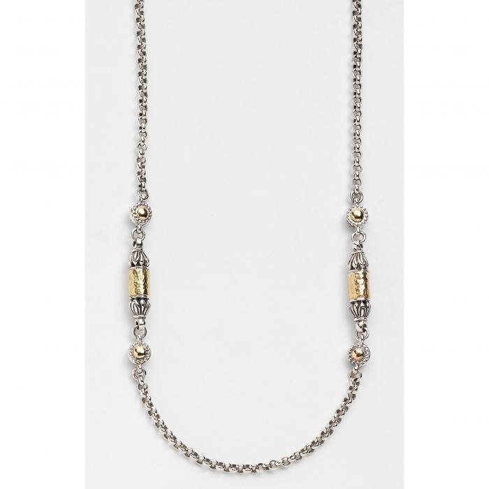 KONSTANTINO 'CLASSICS' 【 TWOTONE HAMMERED STATION NECKLACE SILVER GOLD 】 ジュエリー アクセサリー レディースジュエリー ネックレス 送料無料