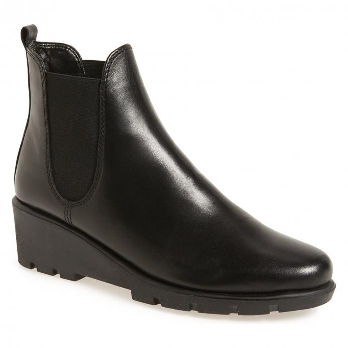 THE FLEXX ブーツ レディース 【 Slimmer Chelsea Wedge Boot 】 Black Cashmere Leather