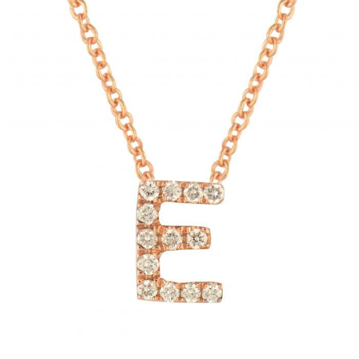 BONY LEVY ダイヤモンド PAV? 【 18K GOLD DIAMOND INITIAL PENDANT NECKLACE ROSE E 】 ジュエリー アクセサリー レディースジュエリー 送料無料