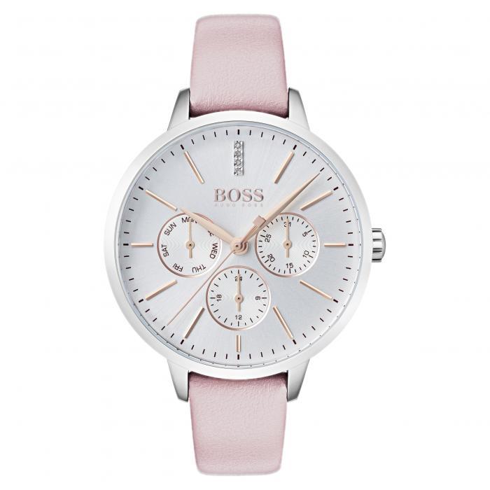 【スーパーセール中! 3/11深夜2時迄】ボス BOSS レザー ストラップ WATCH, 【 SYMPHONY LEATHER STRAP 38MM PINK SILVER 】 腕時計 レディース腕時計 送料無料