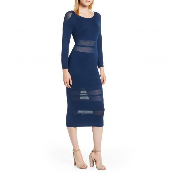 SENTIMENTAL NY ストライプ 【 STRIPE ILLUSION MIDI DRESS BLUE 】 レディースファッション ドレス 送料無料
