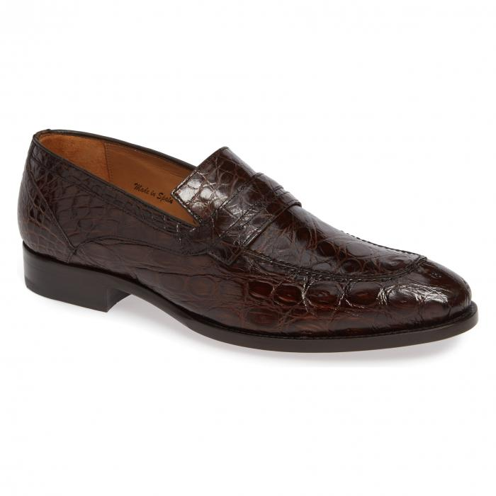 MEZLAN クロコダイル ペニー メンズ ローファー 【 Bixby Genuine Crocodile Penny Loafer 】 Brown Crocodile Leather