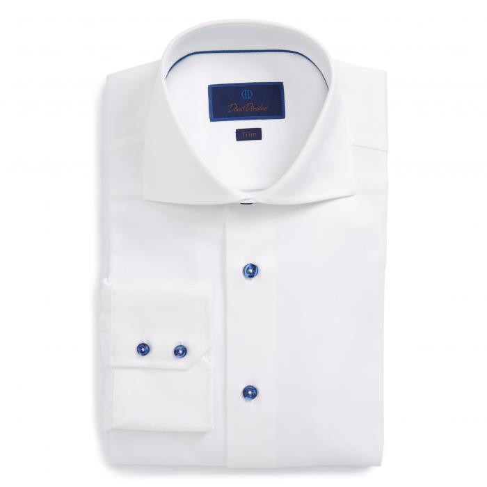 DAVID DONAHUE ダイヤモンド ドレス 【 TRIM FIT DIAMOND WEAVE DRESS SHIRT WHITE 】 メンズファッション トップス カジュアルシャツ 送料無料