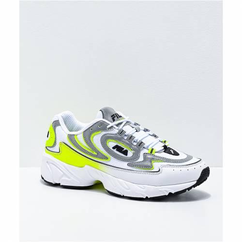 ファッションブランド カジュアル ファッション お買い得 スニーカー フィラ FILA 白色 ホワイト 黄色 イエロー メンズ WHITE SAFETY 至高 MEN'S 運動靴 VOLANTE SHOES 98 YELLOW