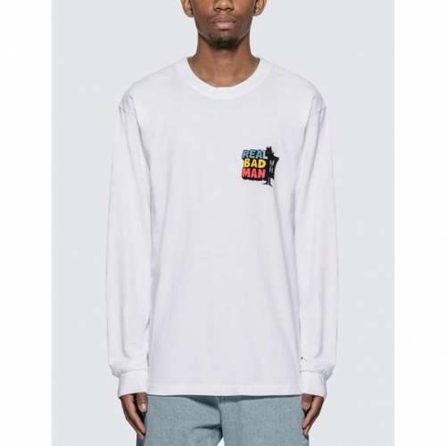 REAL BAD MAN スリーブ Tシャツ 白 ホワイト 【 SLEEVE WHITE REAL BAD MAN DRIVER LONG TSHIRT 】 メンズファッション トップス Tシャツ カットソー