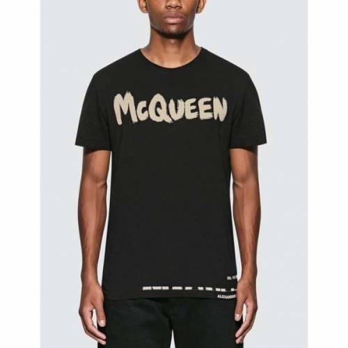 アレキサンダーマックイーン ALEXANDER MCQUEEN ロゴ Tシャツ 黒 ブラック 【 BLACK ALEXANDER MCQUEEN GRAFITTI LOGO COTTON TSHIRT 】 メンズファッション トップス Tシャツ カットソー