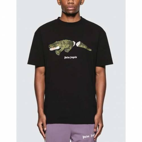 PALM ANGELS エンジェルス Tシャツ 黒 ブラック 緑 グリーン 【 ANGELS BLACK GREEN PALM CROCO TSHIRT 】 メンズファッション トップス Tシャツ カットソー
