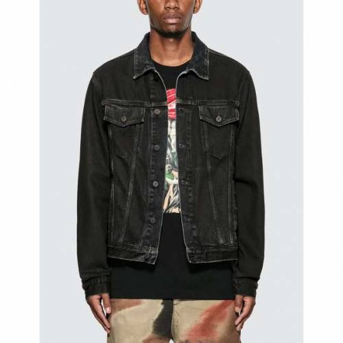 OFF-WHITE スリム デニム 黒 ブラック 青 ブルー 【 SLIM BLACK BLUE OFFWHITE STENCIL DENIM JACKET MEDIUM 】 メンズファッション コート ジャケット