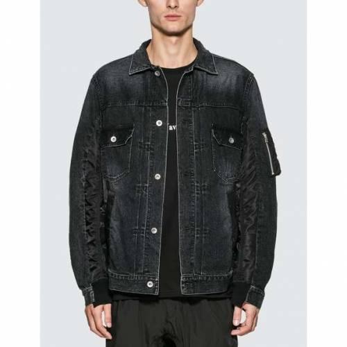 SACAI デニム 黒 ブラック 【 BLACK SACAI MA1 DENIM JACKET 】 メンズファッション コート ジャケット