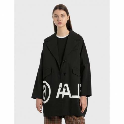 ファッションブランド カジュアル ファッション ジャケット AL完売しました パーカー ベスト メゾン ギフ_包装 マルジェラ MM6 MAISON MARGIELA COAT REVERSED ブラック OVERSIZED BLACK ロゴ LOGO 黒色