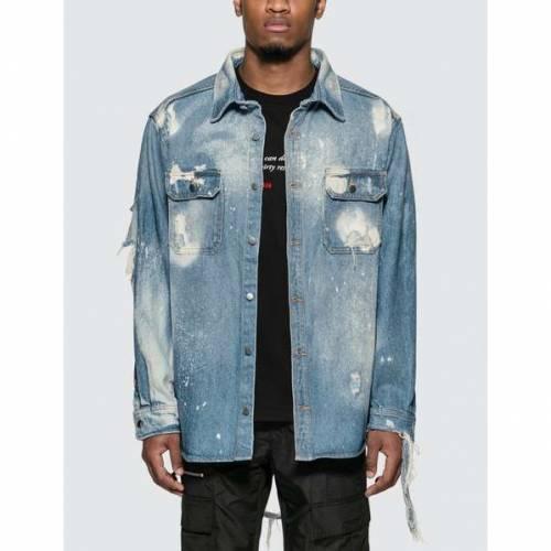 424 デニム 青 ブルー 【 BLUE 424 WORKWEAR DENIM SHIRT WASHED 】 メンズファッション コート ジャケット