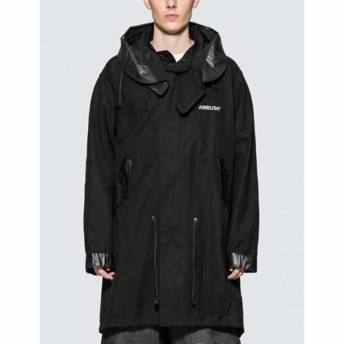 AMBUSH 黒 ブラック 【 BLACK AMBUSH HOODED COTTON FISHTAIL PARKA COAT 】 メンズファッション コート ジャケット