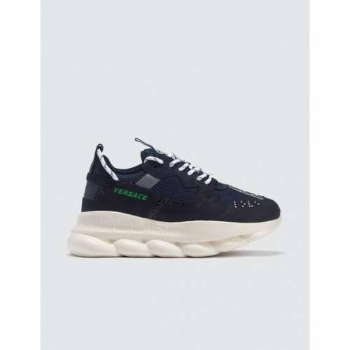 VERSACE スニーカー メンズ 【 Greek Key Reaction Sneakers 】 Navy