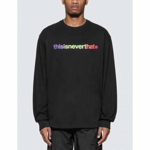 THISISNEVERTHAT スリーブ Tシャツ 黒 ブラック 【 SLEEVE BLACK THISISNEVERTHAT TLOGO LONG TSHIRT 】 メンズファッション トップス Tシャツ カットソー