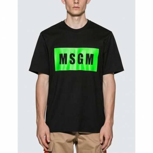 MSGM ボックス ロゴ Tシャツ メンズファッション トップス カットソー メンズ 【 Fluorescent Box Logo T-shirt 】 Black