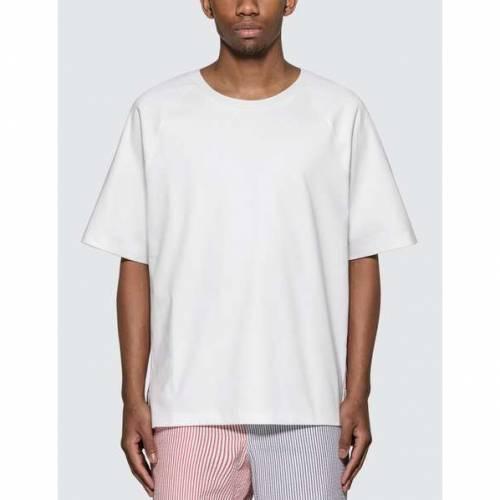 THOM BROWNE ストライプ Tシャツ 白 ホワイト 【 STRIPE WHITE THOM BROWNE INTERLOCK RWB TSHIRT 】 メンズファッション トップス Tシャツ カットソー