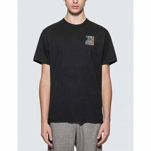 MAISON KITSUNE Tシャツ 黒 ブラック 【 BLACK MAISON KITSUNE MONOGRAM MK EMBROIDERY TSHIRT 】 メンズファッション トップス Tシャツ カットソー