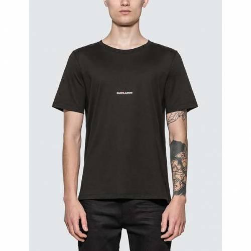 SAINT LAURENT ロゴ Tシャツ 黒 ブラック 【 BLACK SAINT LAURENT LOGO TSHIRT 】 メンズファッション トップス Tシャツ カットソー