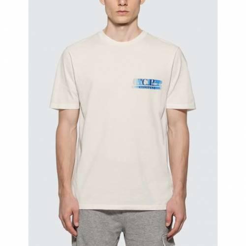 CP COMPANY ロゴ Tシャツ メンズファッション トップス カットソー メンズ 【 Logo Print T-shirt 】 Gauze White