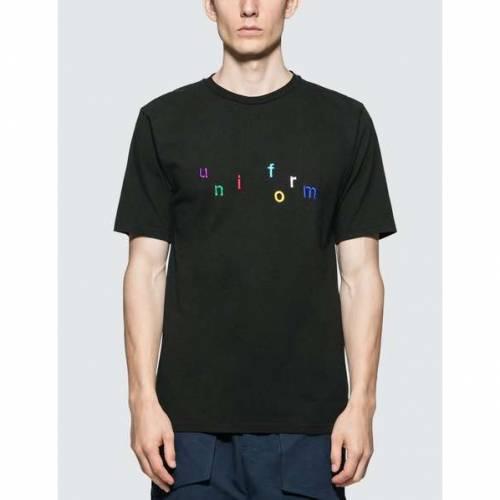 UNIFORM EXPERIMENT Tシャツ 黒 ブラック 【 BLACK UNIFORM EXPERIMENT COLORFUL EMBROIDERY TSHIRT 】 メンズファッション トップス Tシャツ カットソー