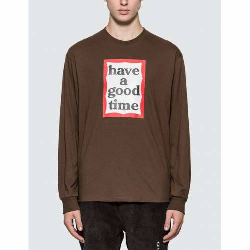 HAVE A GOOD TIME タイム スリーブ Tシャツ 【 SLEEVE HAVE A GOOD TIME FRAME LONG TSHIRT CHOCOLATE 】 メンズファッション トップス Tシャツ カットソー